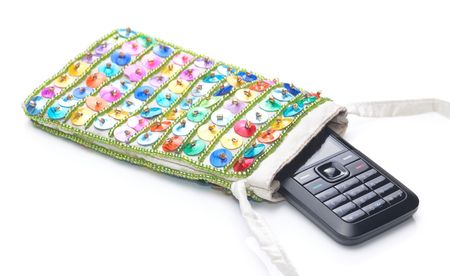 A cellphone inside the pouch photo