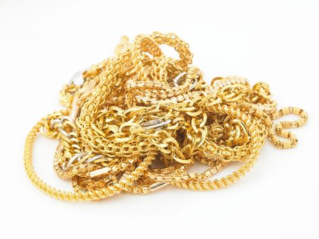 Bunch of gold chains  Stock Photo
