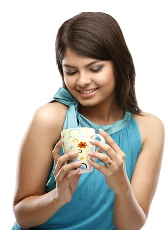 A beautiful Asian young woman holding a cup photo