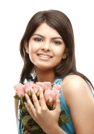 beautiful indian girl face: asian teenage girl with lovely pink roses