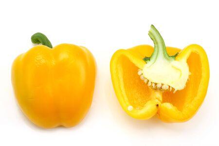 half cut: half cut yellow capsicum