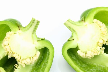 half cut:  Half cut green capsicum