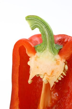 half cut:  half cut red capsicums Stock Photo
