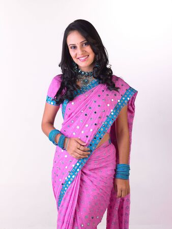 girl with pink sari in a standing posture Stock Photo - 4644517