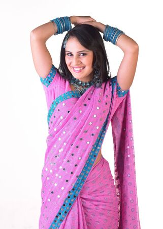 Charming teenage girl in pink sari Stock Photo - 4644561