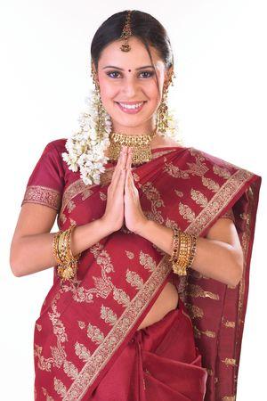 fille indienne: Indian girl inviter posture Banque d'images