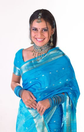 Asian girl with traditional blue silk sari
