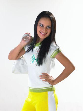 Young beautiful girl with shopping bag photo