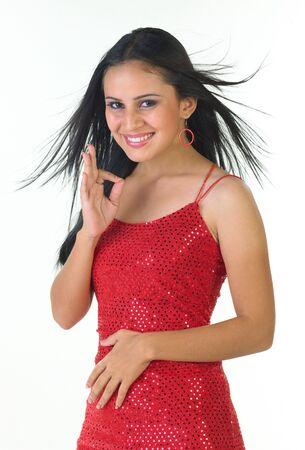 Modern indian Teenage girl with sleeveless costume photo