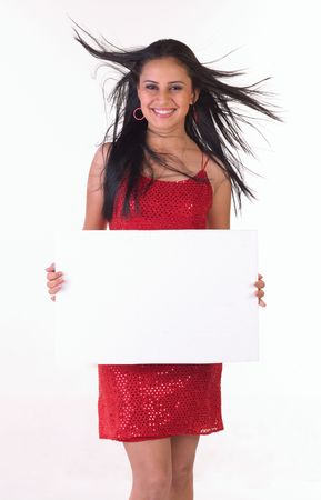 Teenage girl with white placard in red skirt photo