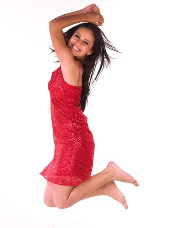 Young girl in jumping posture photo
