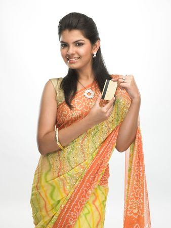 sari: Modern asian girl in sari with the credit card