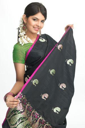 sari: Ni�a india sari de lujo con bonitas
