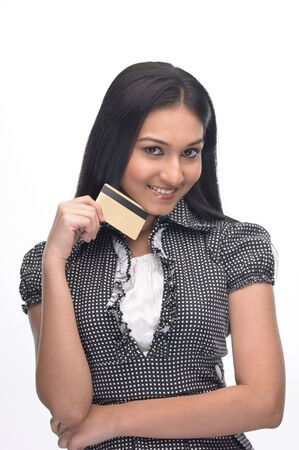 Posture of Asian girl showing the credit-card photo