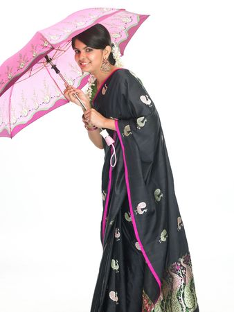 asian teenage girl with the pink umbrella photo