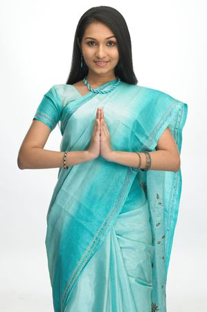 sari: Young girl in welcome expression Stock Photo
