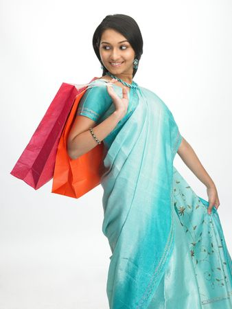 indian girl: Indian girl with colorful shopping bags