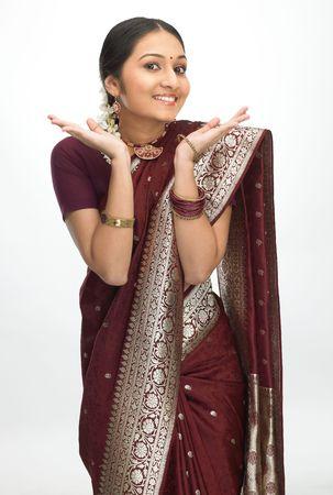 expresion corporal: India adolescente con cara bonita expresión Foto de archivo