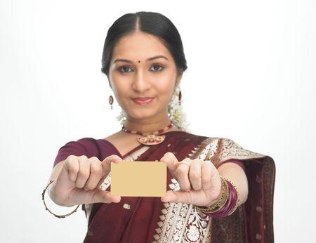 creditcard: Asian girl in silk sari with credit-card