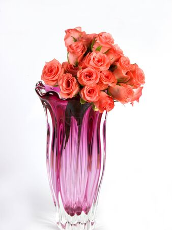 Pink flower vase with pink roses photo