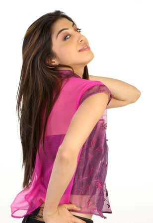 facing backwards: teenage girl facing backwards
