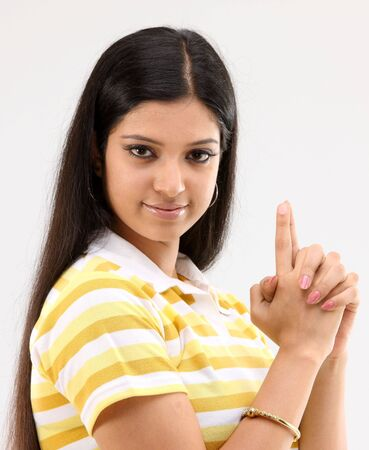 Lady showing her index finger