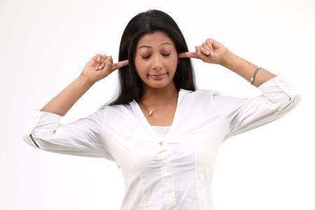 girl action: teenage girl action shutting her ears Stock Photo