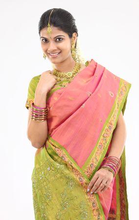 Young girl in silk sari with beautiful accessories Stock Photo - 4816216