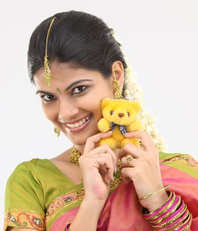 teenage girl with teddy bear photo