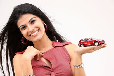 teenage girl with car Stock Photo