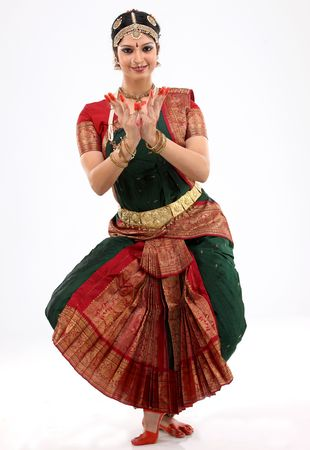 bharatanatyam dance: indian female performing dance