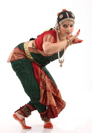 bharatanatyam dance:  Pose of bharatanatyam dance by the woman