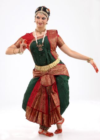 mudra: Woman performing bharatanatyam dance Stock Photo