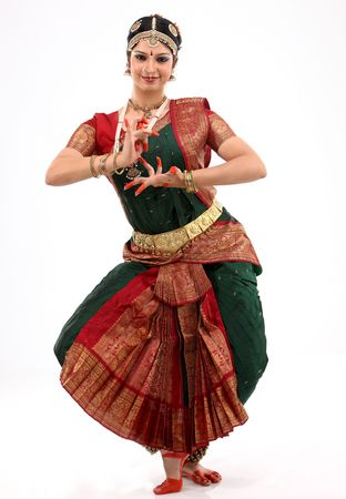 bharatanatyam dance: Lady performing bharatanatyam dance Stock Photo
