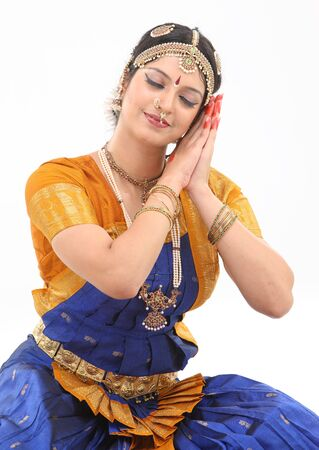 bharatanatyam dance:  Woman doing the posture of sleeping in dance
