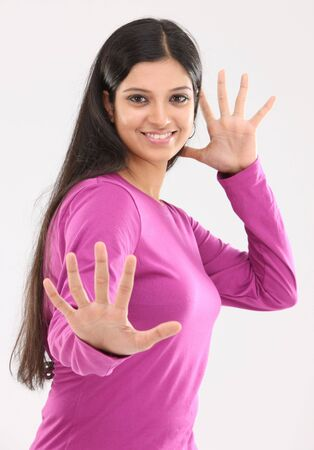 Woman with nice hands expression photo