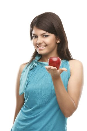 Healthy indian girl with fresh red apple Stock Photo - 4843885