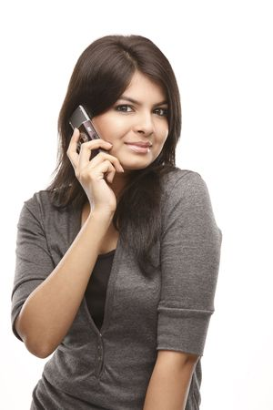 Asian Young smiling woman calling by phone. Over white background