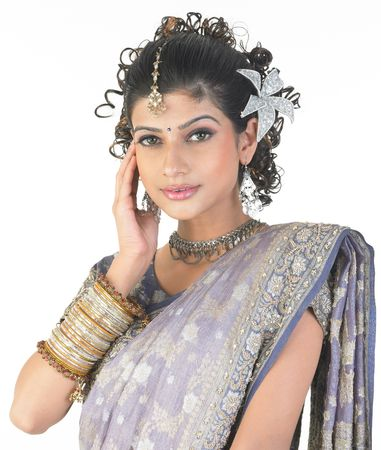 woman with nice bangles and hairstyle photo
