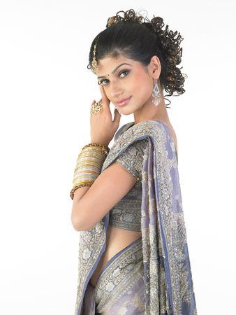 sidewards: Traditional girl posing sidewards with nice sari