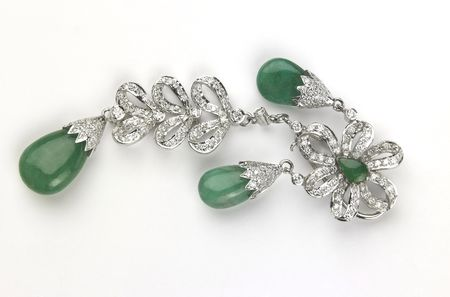 Emerald Earrings Stock Photo