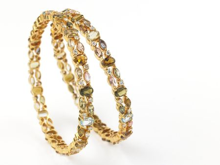 Gold bangles with diamonds