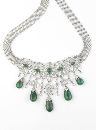 emerald stone: diamond necklace with emerald Stock Photo