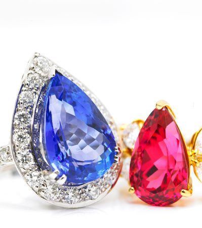 Diamond ring with ruby and sapphire Stock Photo