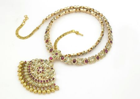 Ruby necklace with diamonds and pearls Stock Photo
