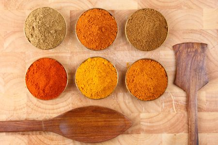 bowls of spicy ingredients on wooden tray photo