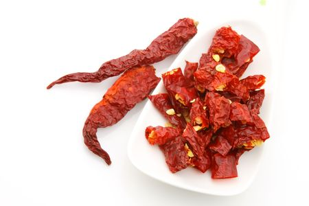 intense flavor:   Red pepper flakes with chillies in wooden spoon