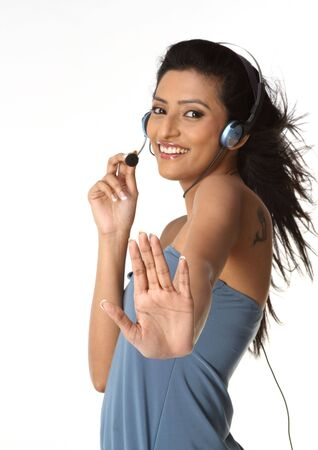 Beautiful call center operator with headset.  photo