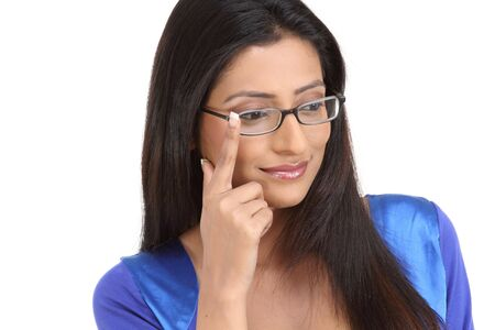Happy young brunette with eyeglasses  photo