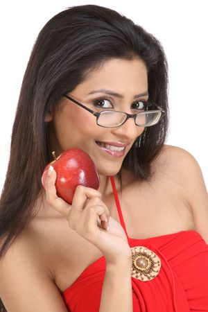 teenage girl with red apple photo
